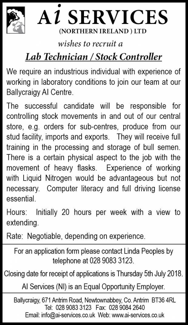 Job Vacancy - Lab Technician / Stock Controller